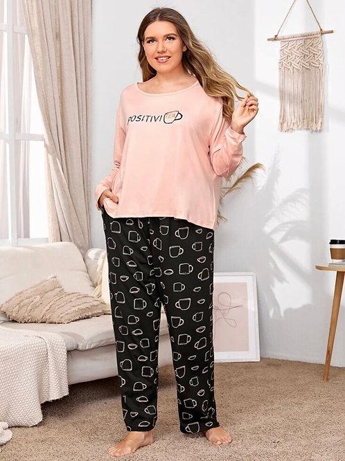 Positivi-Tea Pajama Set, 3XL or 4XL
