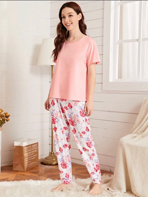 Dream of Pink Floral Pajama Set,M or L