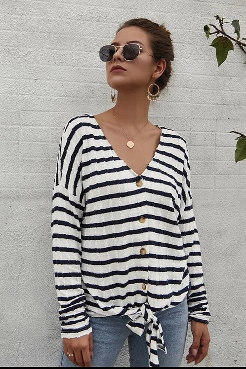 Striped Tie Front Top, S or XL