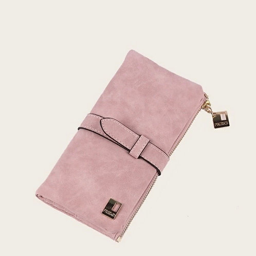 Pink Faux Suede Wallet