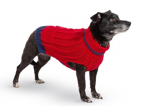 Red Knit Dog Sweater, M