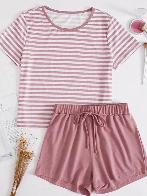 Mauve Stripe Pajama Set, M or L