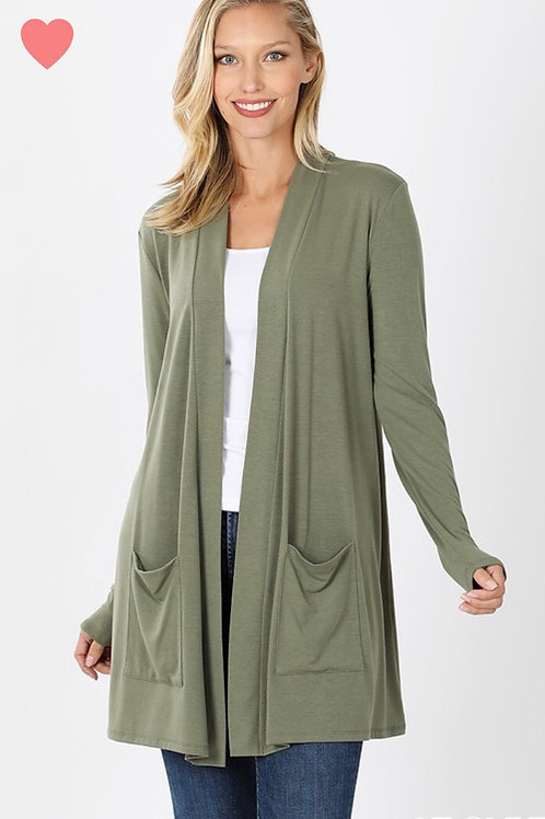 Open Pocket Cardi, light olive