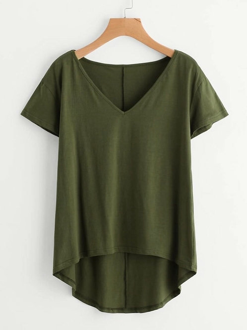 Dip Hem V Tee, army green,3XL