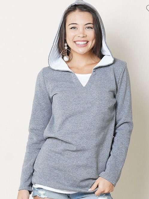 Lined Heather Gray Hoodie