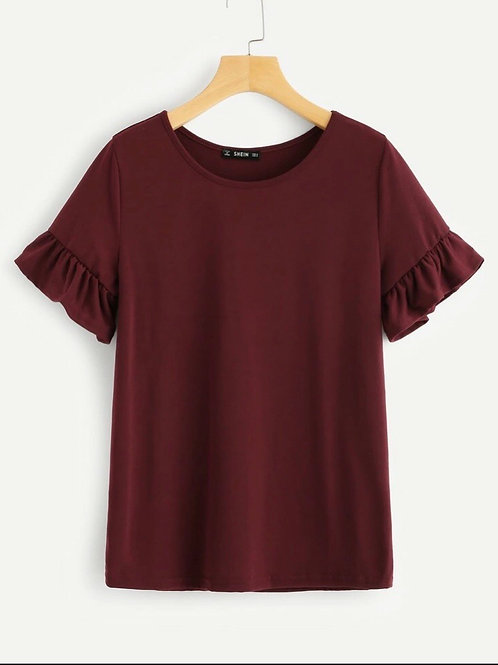 Ruffle sleeve Top, red wine, S or M