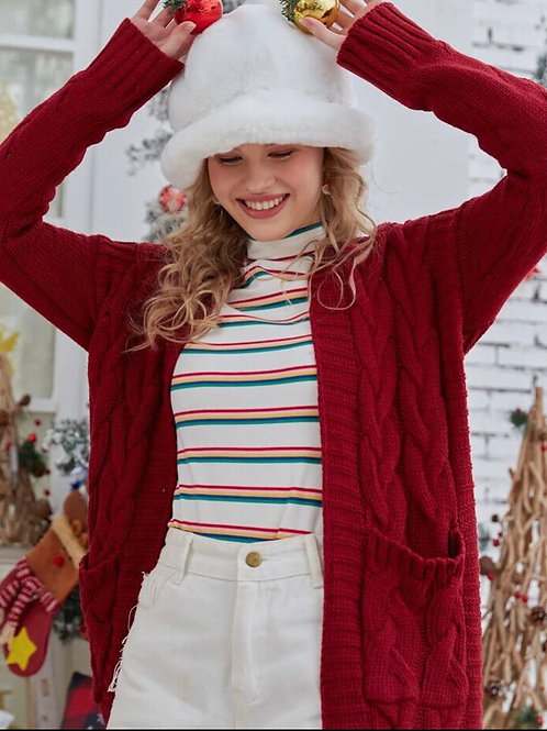 Red Cableknit Cardi, S