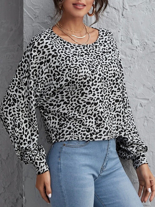 Gray Leopard Styled Long Sleeve