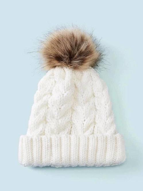 Ivory Cableknit Pom Hat