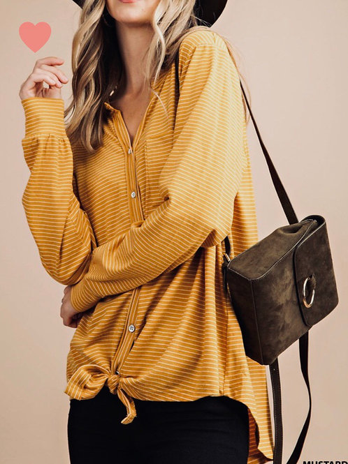Striped Button Tunic, mustard , S