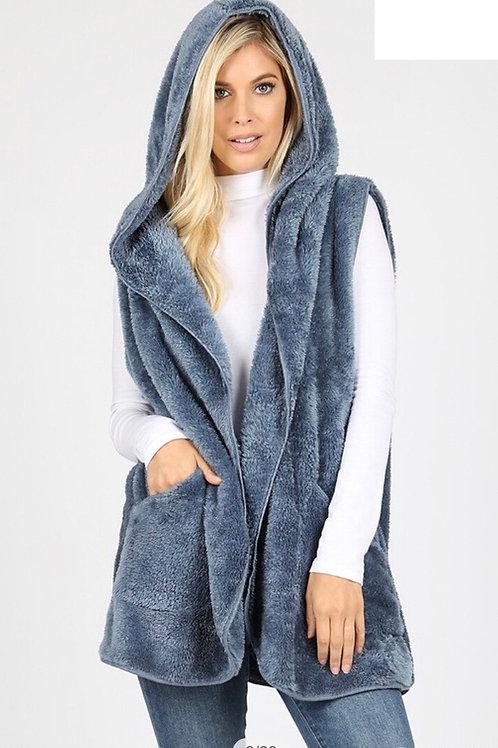 Hooded Cozy Vest, cool grey