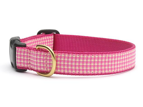 Pink Gingham Dog collar, S or L