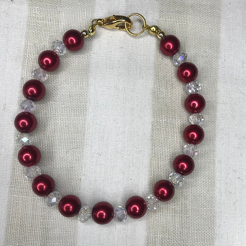 Deep Red Bead & Crystal Bracelet