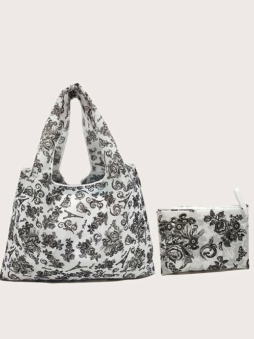 Boho Paisley Foldable Tote Bag, large