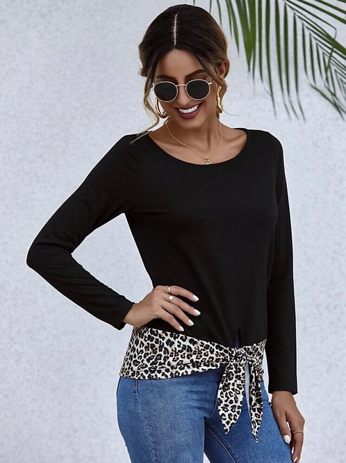 Tie Front Top with Leopard