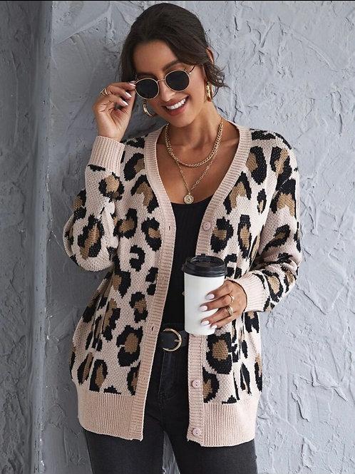Leopard Cardigan, L
