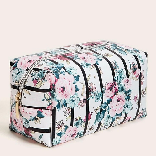 Stripe & Floral Makeup Bag