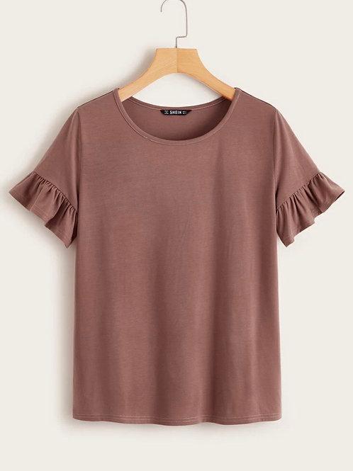 Ruffle Sleeve Top, Mauve, S or M