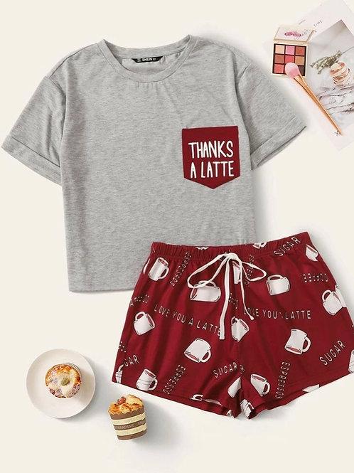 Cafe Latte Pajama Set, M or XL