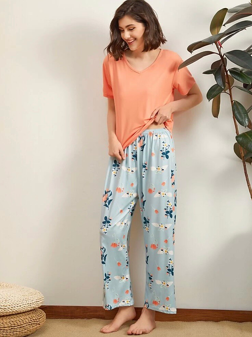 Floral Pajama Set, M