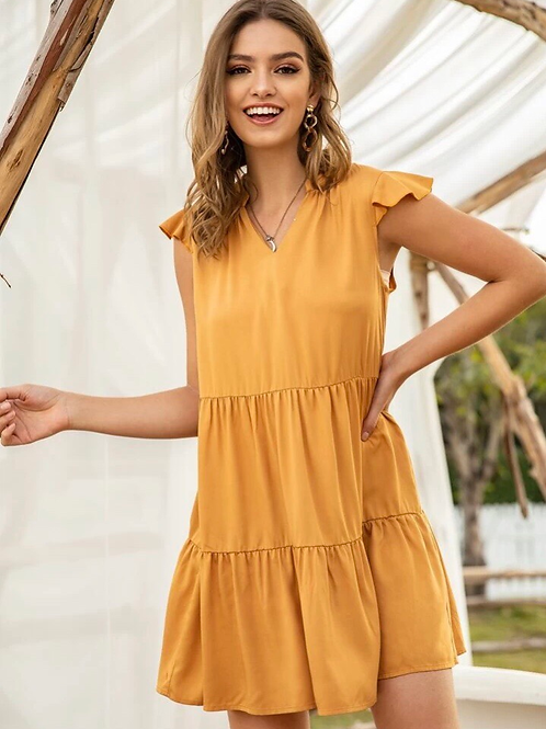 Tiered Dress, mustard, S or M