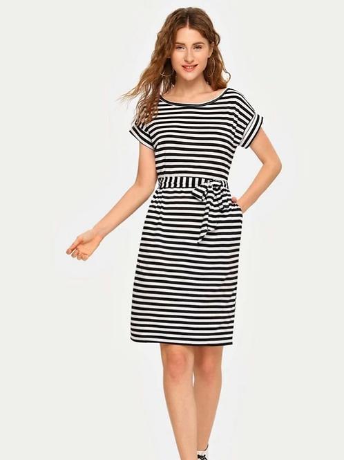 Striped Tie Dress , S
