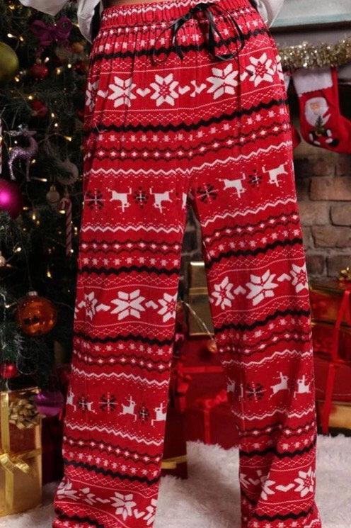 Sweater Print Red Velvet Lounge Pants