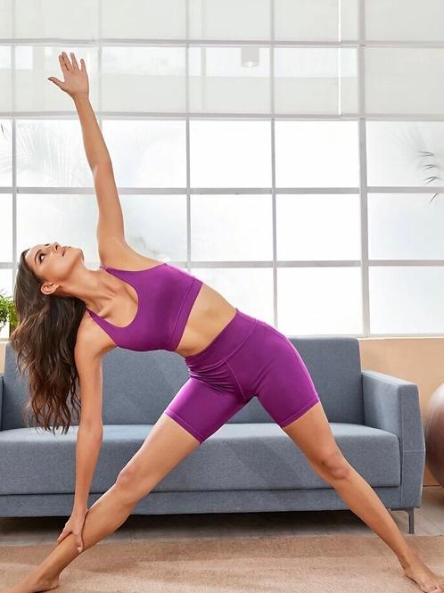 Purple Shorts & Sports Bra Set, L