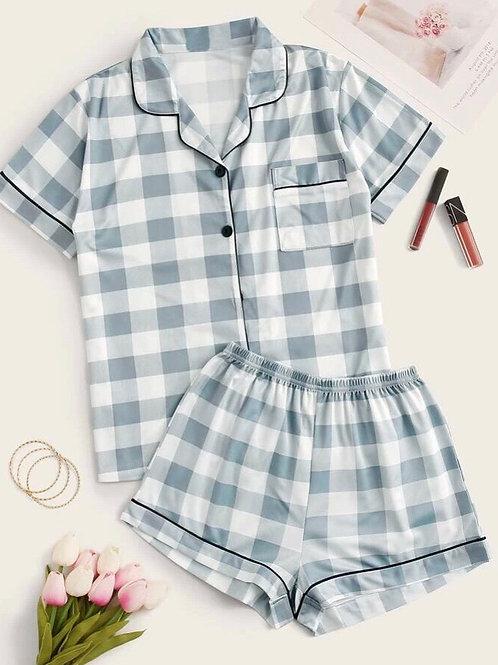 Tea Gray Buffalo Check Pajama,M or L