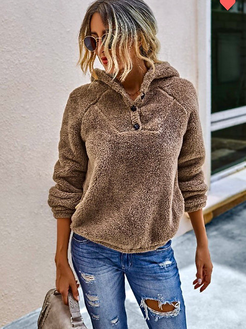 Toffee Sherpa Pullover, M
