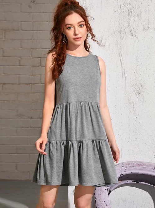 Tank Tiered Dress, lt.gray, S