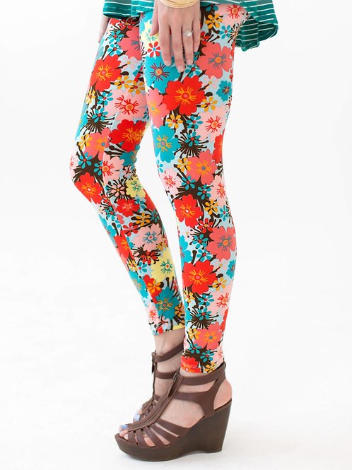 Aqua floral leggings, L