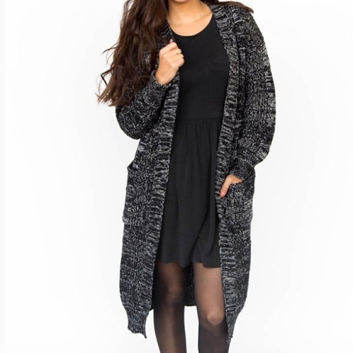 Black Cableknit Duster, S or M