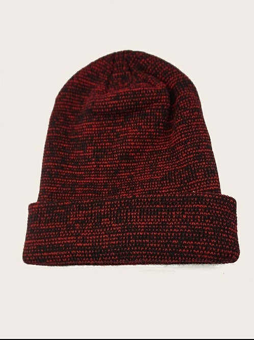 Space Dye Deep Red Knit Hat