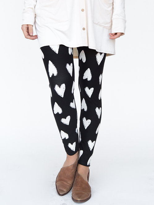 B&W Hearts Leggings, XS