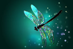 Glass dragonfly with effect of holograph