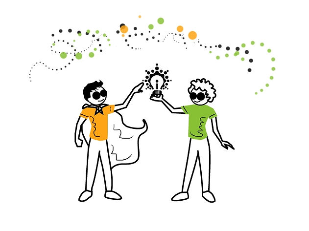 An illustration of a tam maven wearing a cape and a visionary holding a light bulb. Both are admiring the lit light bulb.