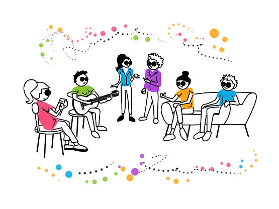 An illustration of six people gathered around while one plays guitar, one writes, and the others are conversing.