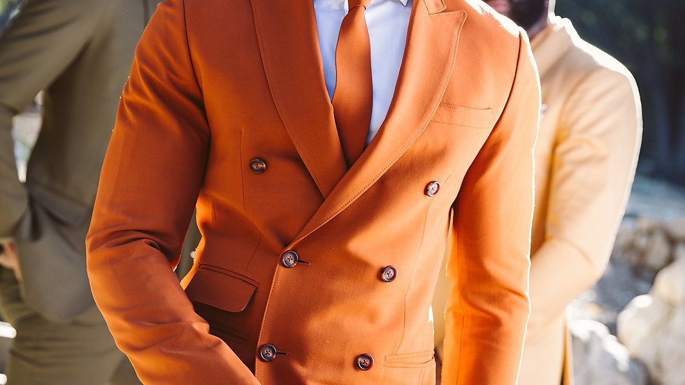 Vermillion Orange Double breasted Suit