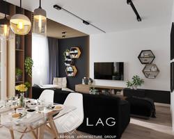 дизайн інтер'єру вітальні та кухні