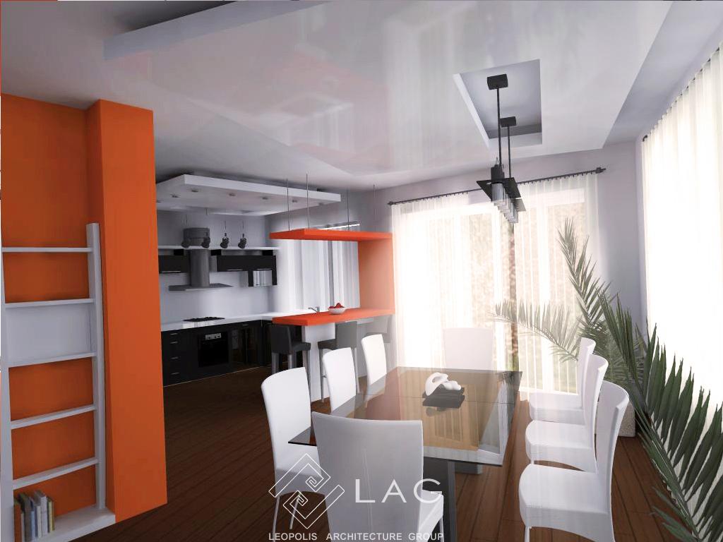 дизайн інтер'єру вітальні-їдальні