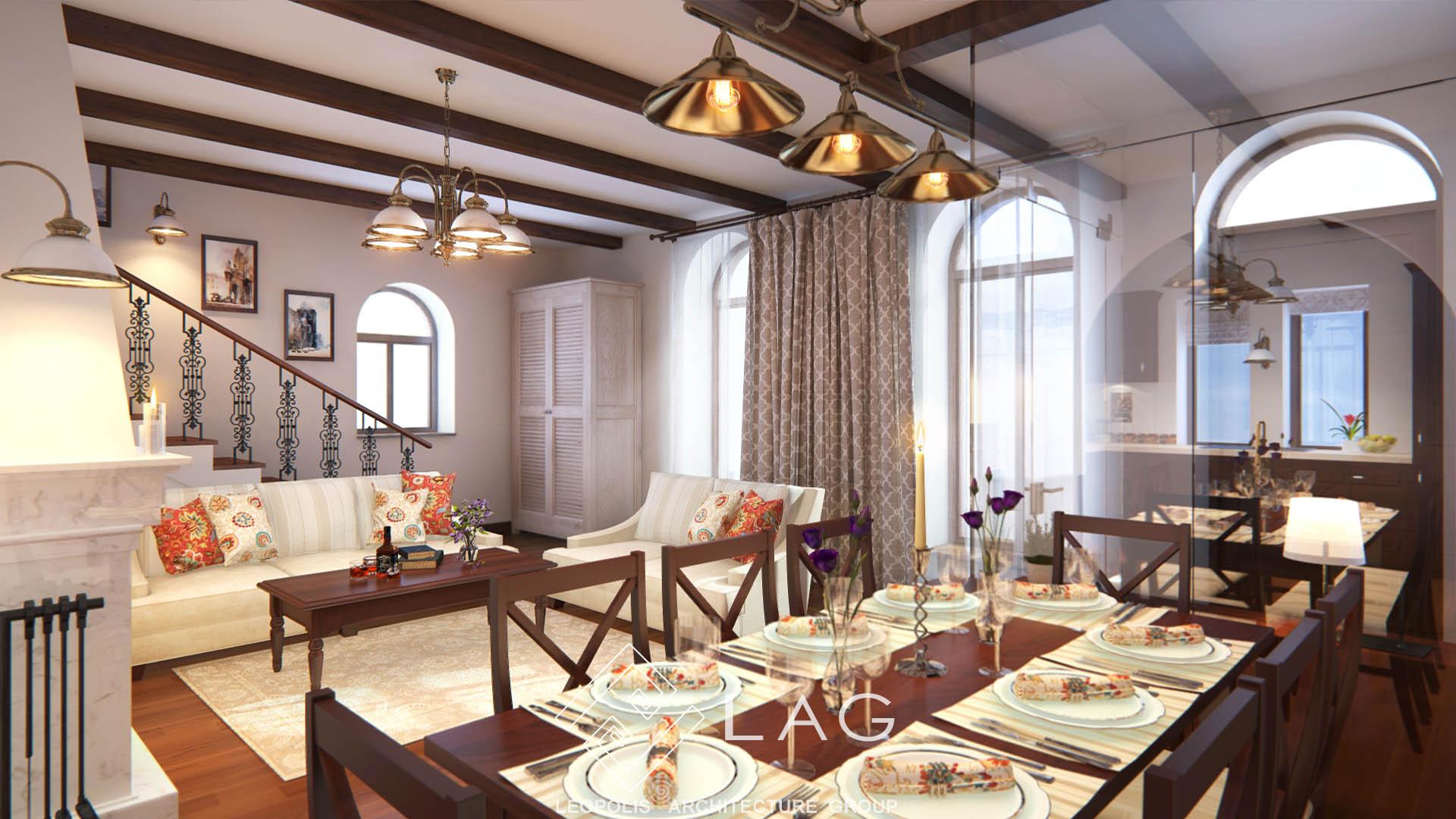 дизайн інтер'єру вітальні-кухні