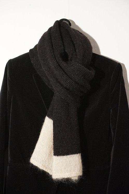 Echarpe Suzanne bicolore Noir/Ecru en mohair