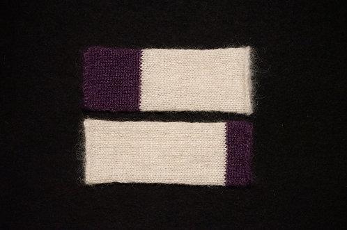 Mitaines Violette  bicolore Ecru/Violet