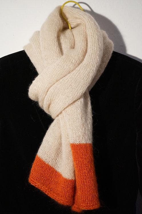 Echarpe Suzanne bicolore Ecru/Orange en mohair