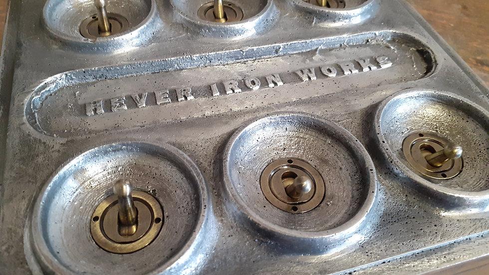 Cast Aluminium 6 Gang Light Switch