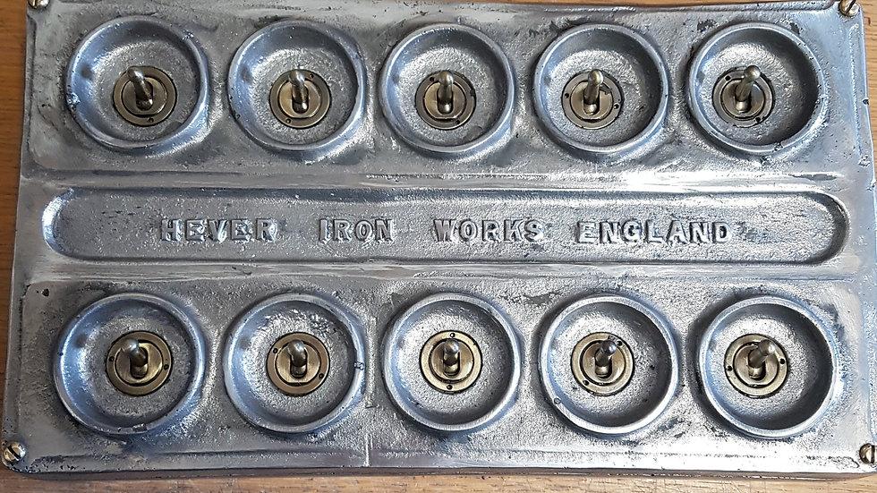 Cast Metal 10 Gang Vintage Industrial Light Switch