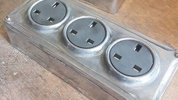 Cast Metal Vintage Industrial 3 Gang Power Socket