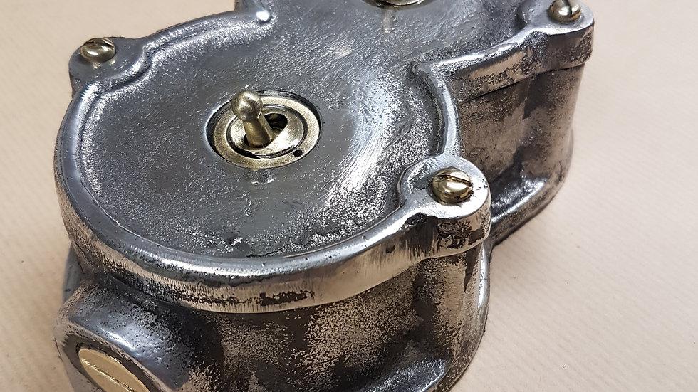 Cast Aluminium 2 Gang Round Light Switch