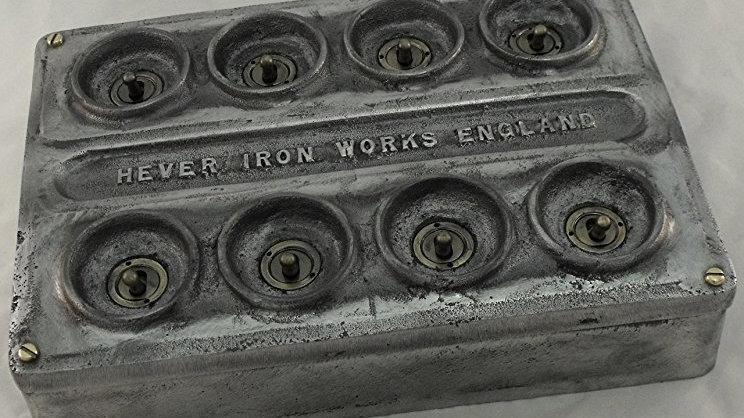 Cast Metal 8 Gang Vintage Industrial Light Switch